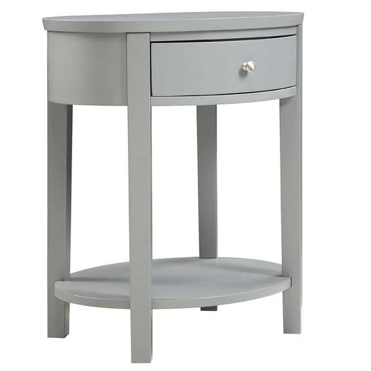 Gray Round Drawer Nightstand