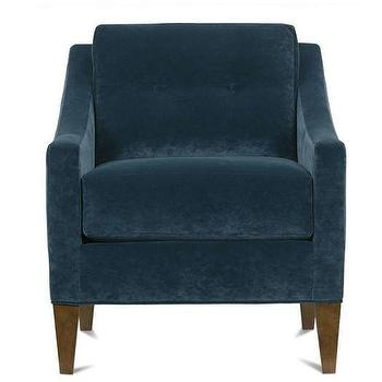 High Quality Navy Button Back Sloped Arm Chair