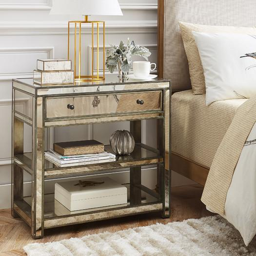 Mirrored Two Shelf Drawer Side Table