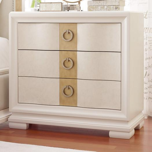 White Gold Accent Three Drawer Nightstand