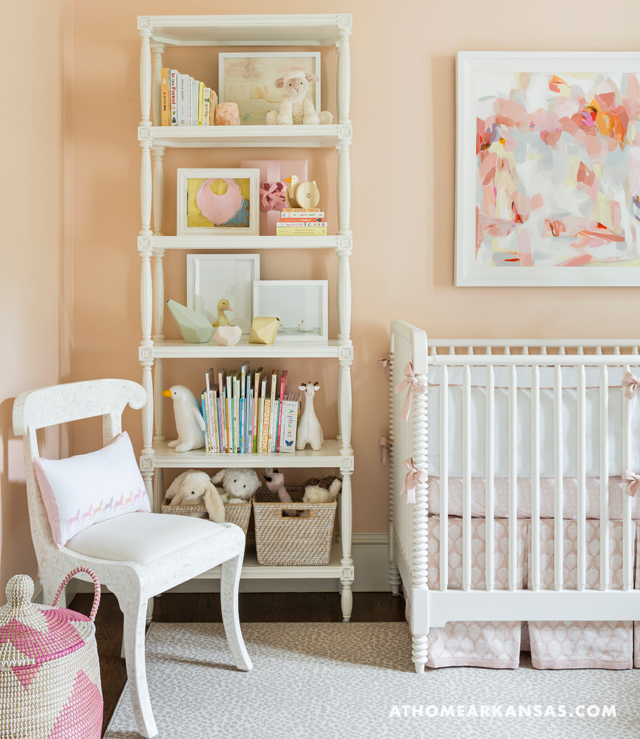 Pink nursery with pink and beige nursery glider for Benjamin moore french white