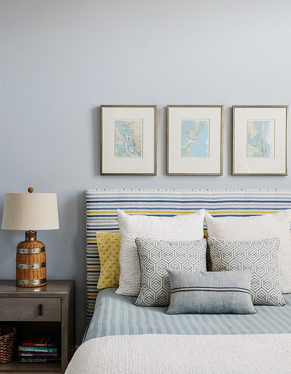 Blue And Gray Cottage Boy Bedroom With Silver Gray Paint On Walls