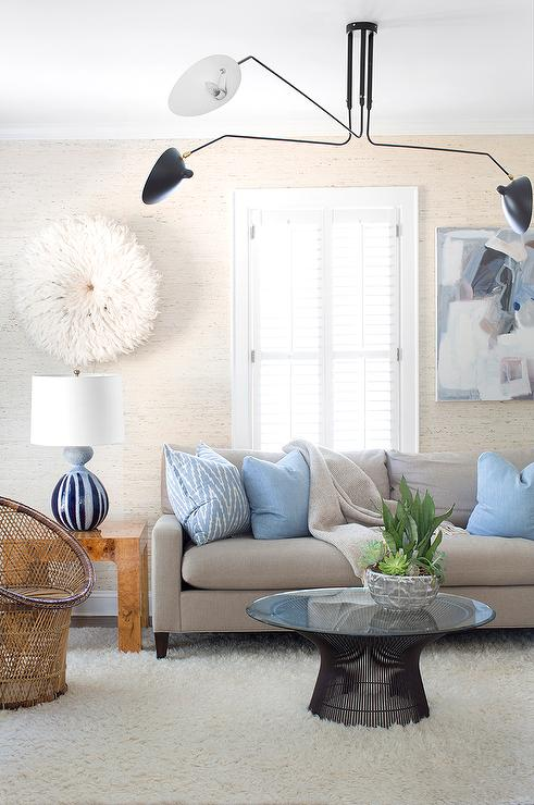 Gray sofa with blue pillows and white juju hat for Blue and white sofa