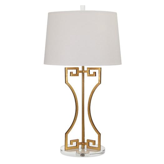 White Empire Shade Gold Greek Key Table Lamp