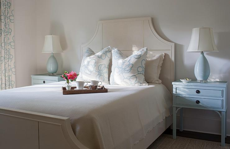 Ivory Wood Bed With Powder Blue Nightstands And Blue Egg Lamps