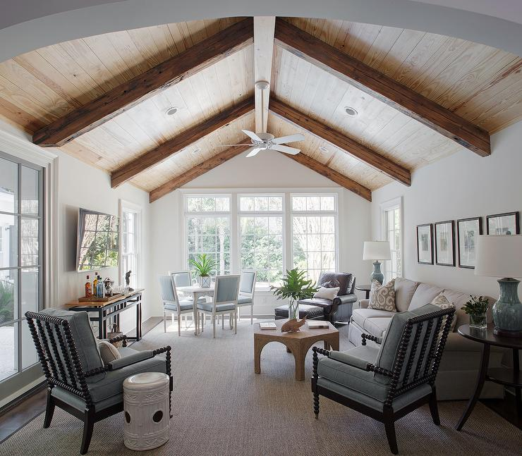 Beige And Blue Living Room With Vaulted Plank Ceiling Transitional