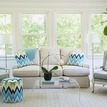 Bon Ivory And Blue LIving Room With Ivory Spindle Chairs And Turquoise Paisley  Pillows
