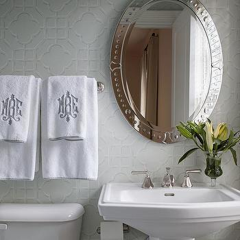 Powder Room Monogrammed Hand Towels Design Ideas