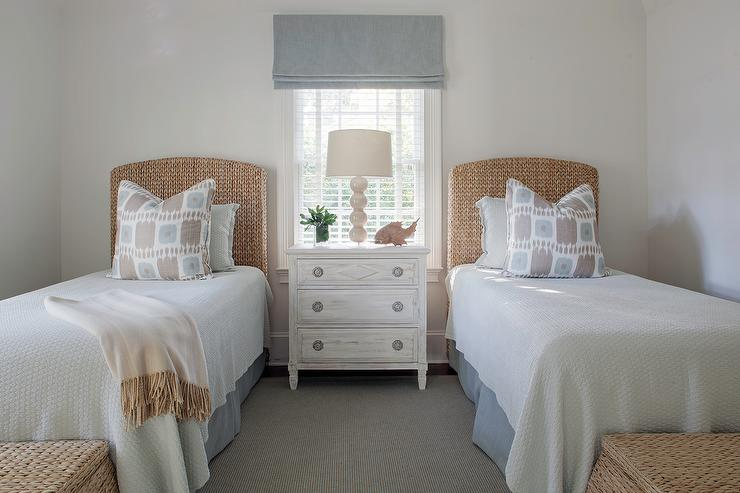 Beige and blue ikat pillows design ideas for Small room two twin beds