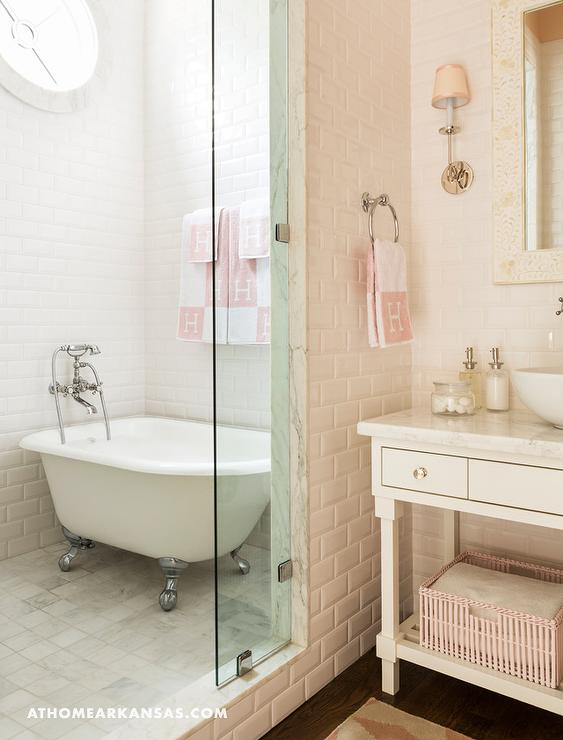 White And Pink Bathroom With Hermes Hand Towel