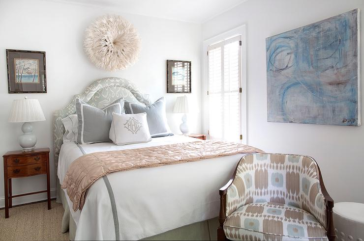 Blue and Brown Bedroom with Blue Ikat Headboard ...