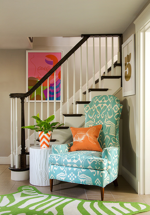 Orange Chevron Foyer Vase Design Ideas