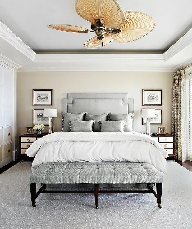 Bedroom Ceiling Trim Bedroom Colours Wall Warm Relaxing Bedroom Colors Shabby Chic Bedroom Colours: Silver Gray Bedroom With Tray Ceiling And Blade Ceiling