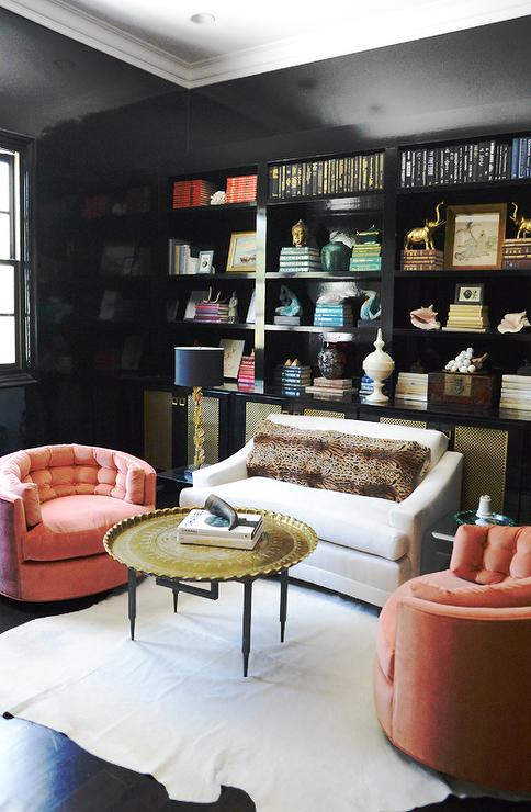 pink black white office black. Black And White Home Office With Salmon Pink Accents Boasts A Ceiling Contrasted By Glossy Walls Framing Built In Bookcase Positioned Above O