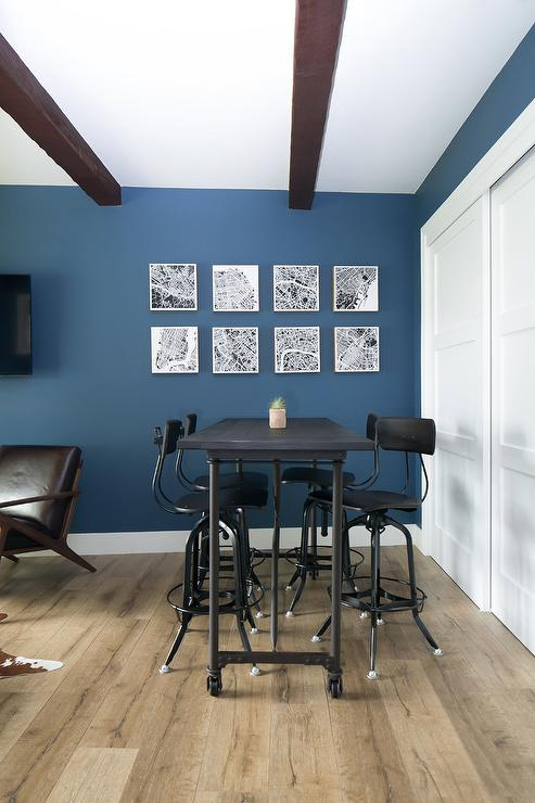 Blue Man Cave With Industrial Pub Table And Bar Stools