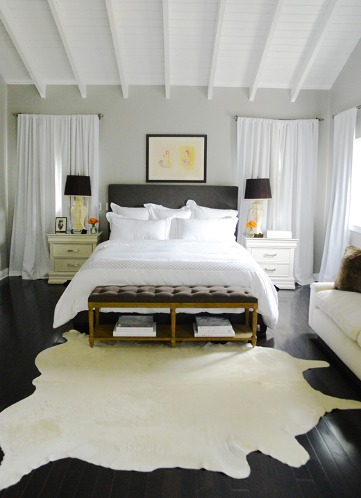 Cream and Gray Bedroom with Cream Cowhide Rug - Transitional - Bedroom