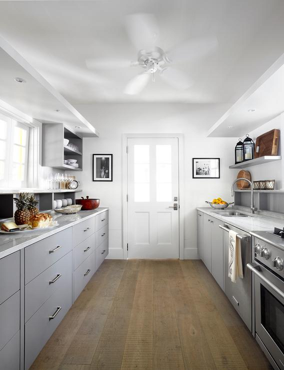 Gray Galley Style Kitchen with Gray and White Quartzite Countertops on galley kitchens before and after, galley kitchens with white cabinets, galley style kitchen,
