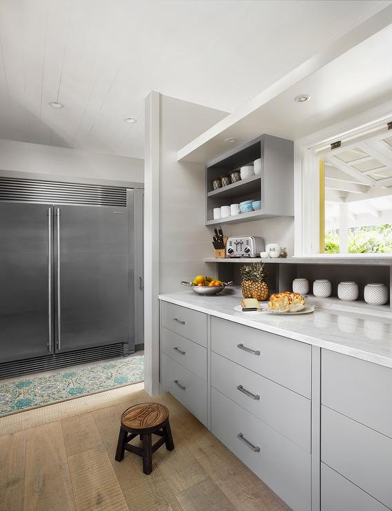 Gray Kitchen Cabinets with White Oak Wood Floors  Transitional
