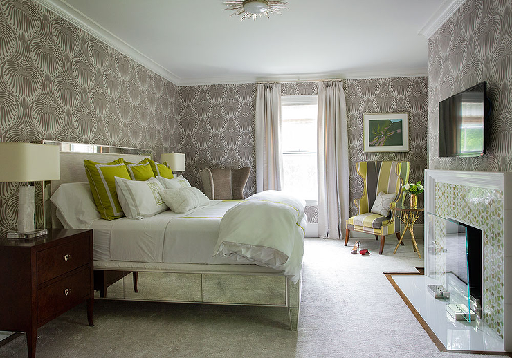 green and gray bedroom. Green and Gray bedroom with Mirrored Bed view full size Wingback Chairs Limestone Fireplace  Transitional