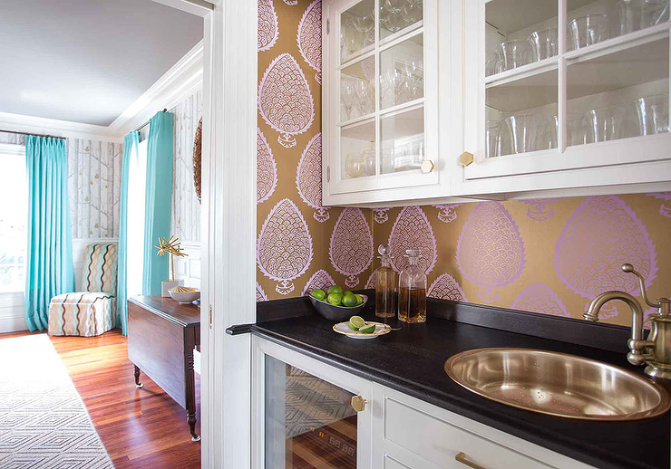 Home bar with gold and purple metallic wallpaper for Purple kitchen wallpaper