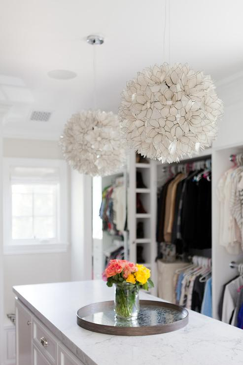 Long and narrow closet island with honed white marble top and capiz long and narrow closet island with honed white marble top and capiz lotus flower chandelier aloadofball Images