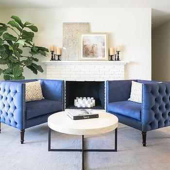 Blue Tufted Nailhead Accent Chairs Design Ideas