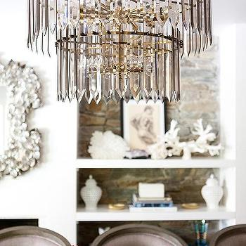 Tiered Gray Glass Art Deco Chandelier With Wood Top Dining Table