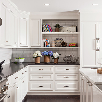 White KItchen Cabinets With Mixed Countertops
