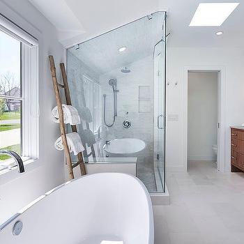 Walk In Glass Shower with Marble Tiled Sloped Ceiling. Master Bath Towel Ladder Design Ideas