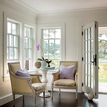 Foyer With Purple Chair And Rope Knot Door Stopper
