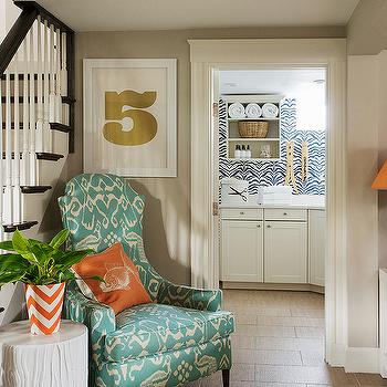 Orange chevron foyer vase design ideas