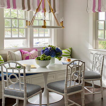 Dining Bench And Window Seat With Pink And Gray Striped Roman Shade