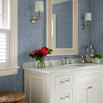 White And Blue Bathroom With Raffia Mirror