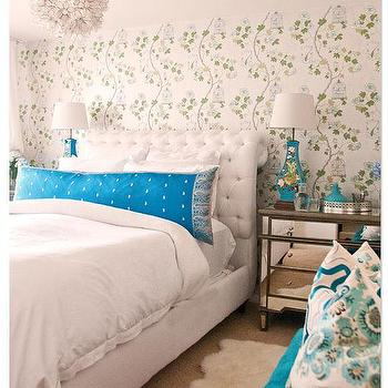 Bedroom capiz flower chandelier design ideas white and turquoise bedroom with mirrored dressers as nightstands aloadofball Gallery