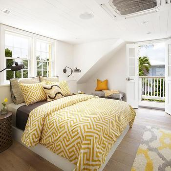 Master bedroom deck cottage bedroom for Brown and yellow bedroom ideas