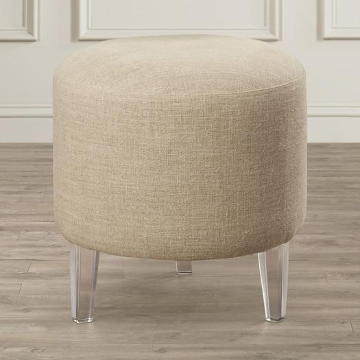 Astonishing Acrylic Leg Beige Round Pouf Ottoman Gmtry Best Dining Table And Chair Ideas Images Gmtryco