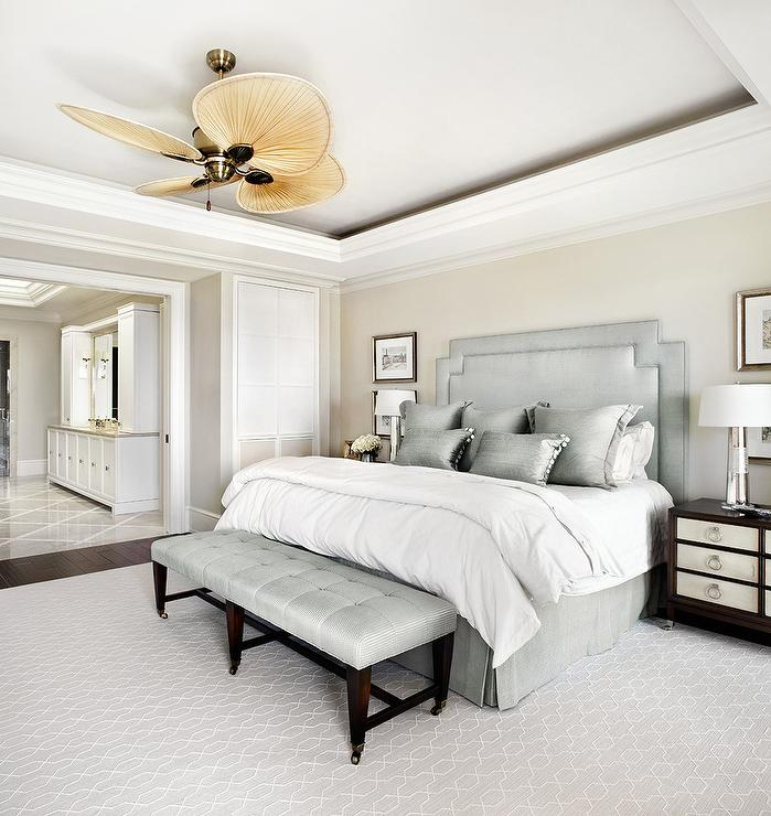Cream Bedroom Walls With Silver Gray Headboard Transitional