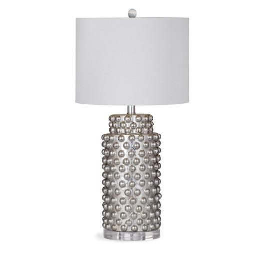Silver and white studded textured base table lamp mozeypictures Choice Image