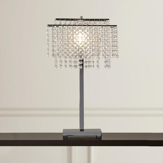 Hanging Crystals Tiered Shade Table Lamp