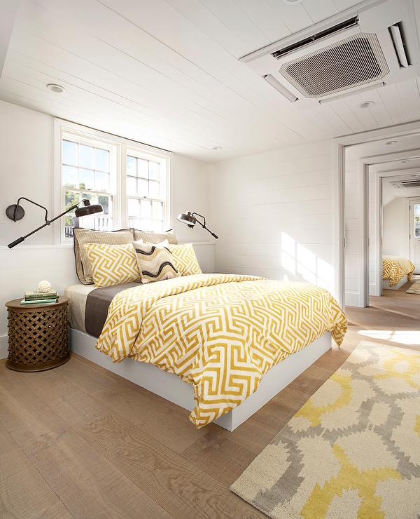 Yellow Cottage Bedroom With European White Oak Wood Floors