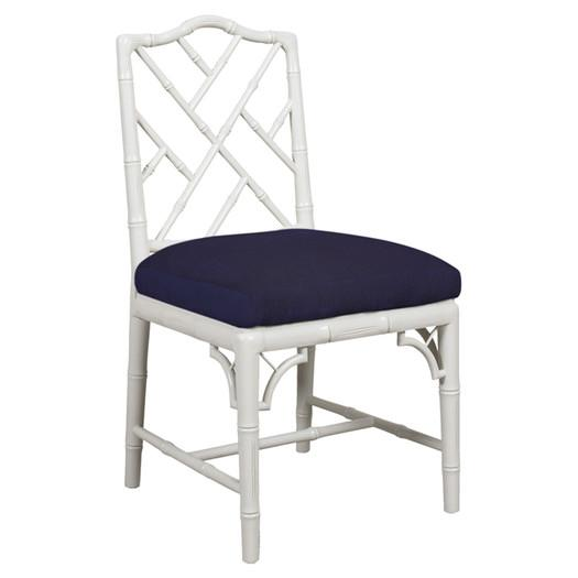Superior Navy And White Armless Chippendale Side Chair