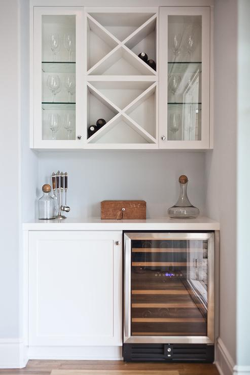 Stacked Wine Racks Over Mini Glass Door Fridge