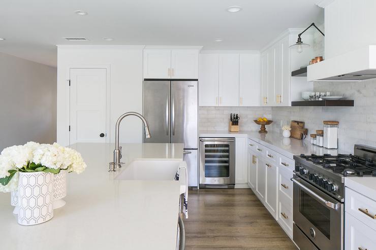 Wine Cooler Next to Refrigerator - Transitional - Kitchen