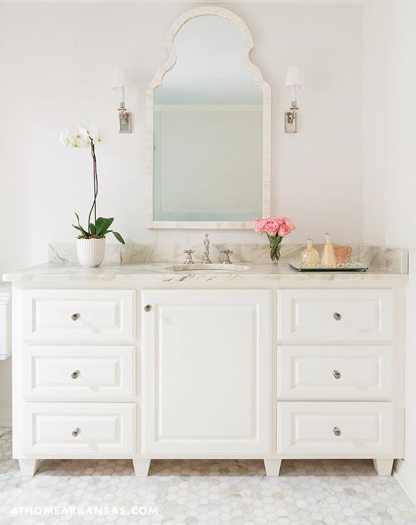 Ivory Washstand With Cream Capiz Mirror Transitional