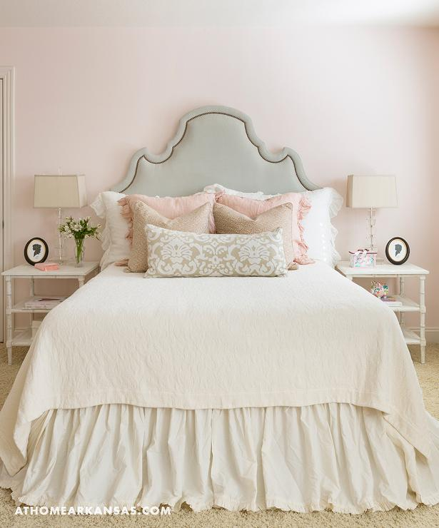 pink beige carpet and headboard skirt green beige walls ivory and pink bedroom with gray headboard 738