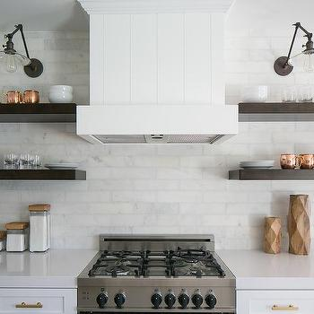 Kitchen Hood Between Floating Shelves Design Ideas