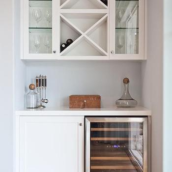 Stacked Wine Racks Over Mini Glass Door Fridge View Full Size Monochromatic White Butlers Pantry