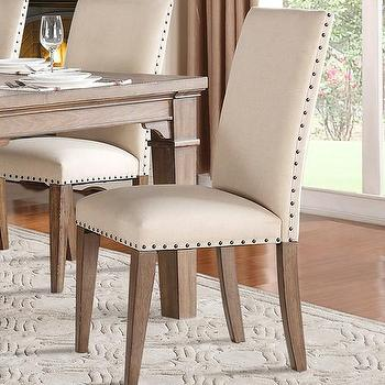Merveilleux Ivory Bronze Nailhead Trim Side Chair