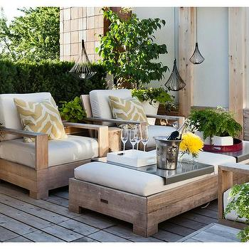 Weathered Teak Deck Chairs With Weathered Teak Ottoman As Coffee Table