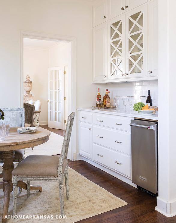 French Dining Nook In Butler Pantry And Mullion Cabinets